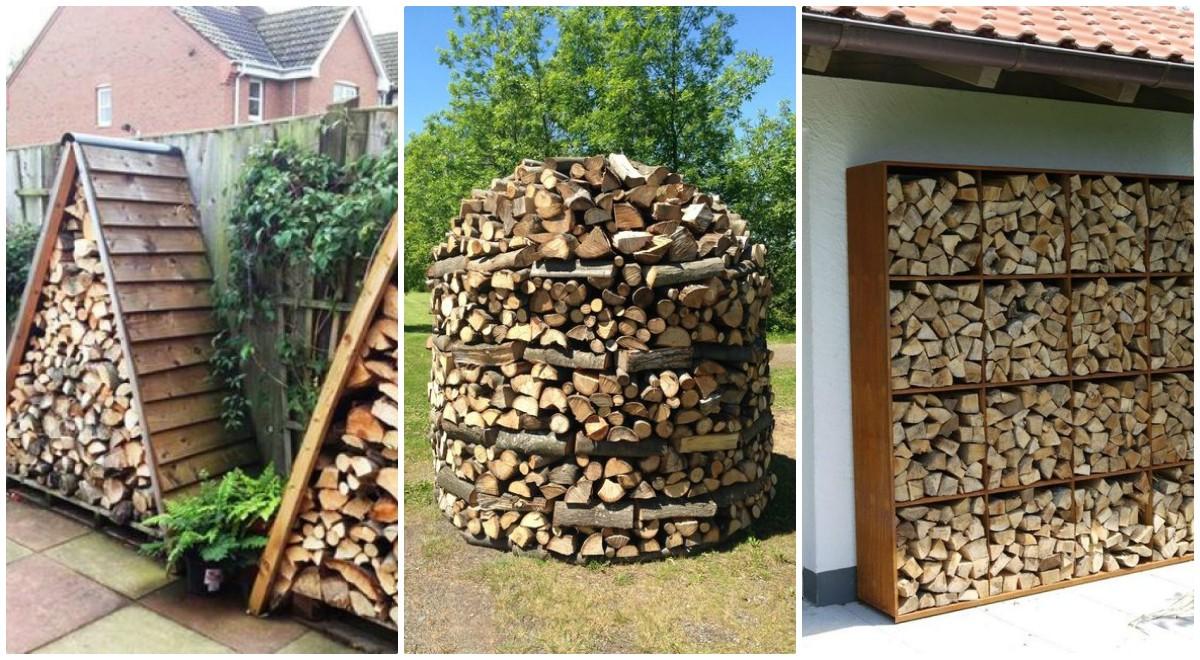 Idei geniale pentru depozitarea lemnelor de foc in gradina