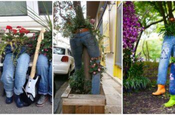 Jardiniere din blugi si beton, cele mai neobisnuite jardiniere care au fost realizate