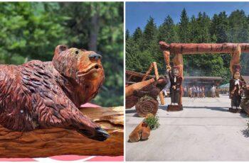 Un restaurant transformat intr-un tinut de basm cu ajutorul sculpturilor din lemn