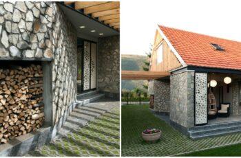 Casa parter + mansarda placata cu piatra naturala - imagini si proiect