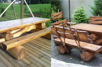Idei geniale de mese rustice din lemn rotund