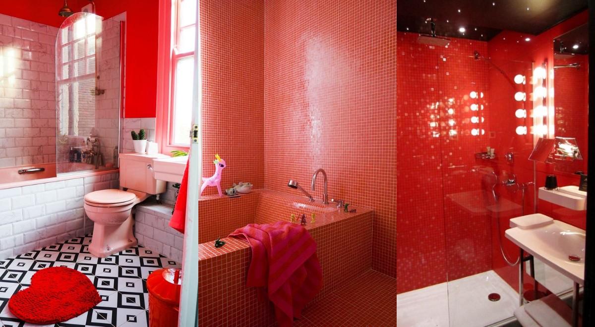 Idei geniale pentru o baie cu nuante de rosu