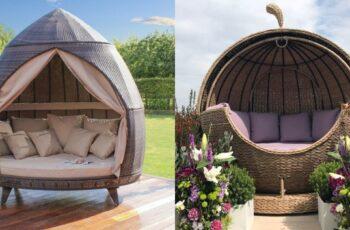 Canapele pentru gradina din ratan cu baldachin pentru umbra